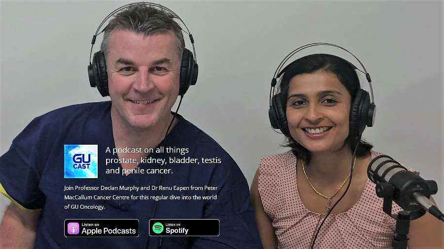 Professor Declan Murphy and Dr Renu Eapen ready to record podcast at Peter MacCallum Cancer Centre. Topic is the post-prostatectomy journey and what we wish we knew back then.