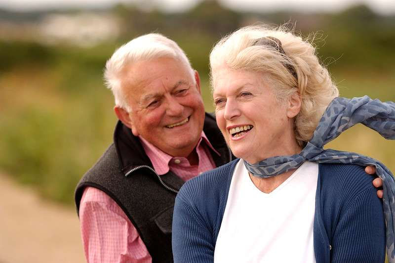 Older couple in love and smiling